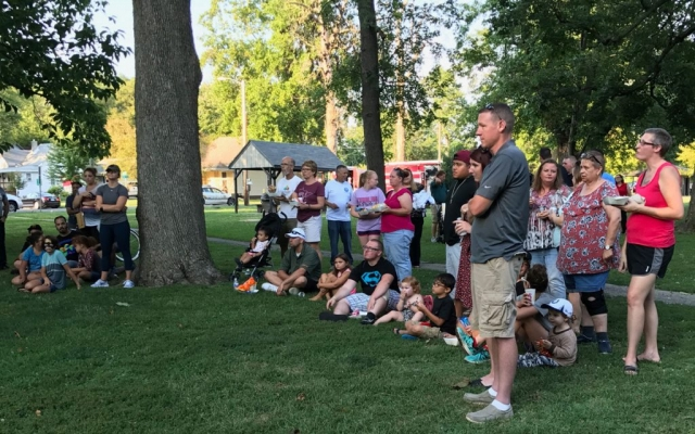 Harvard Park & Iles Park National Night Out 2017 -- residents watching the K-9 demonstration.